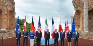 G7 leaders 26 May 2017. Foto: Italian G7 Presidency. Wikimedia Commons, CC BY 3.0