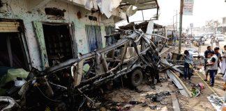 Koalitionens attack mot civila, Saada aug 12, 2018. Foto: Xinhua, Mohammed, IANS, Prokerala.com