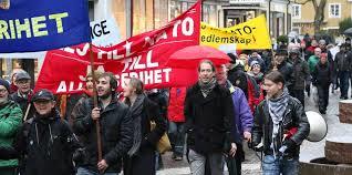 Protester på tre platser i Stockholmsområdet mot USA-Natos-Sveriges krigsövningar mot Ryssland i Norrbotten