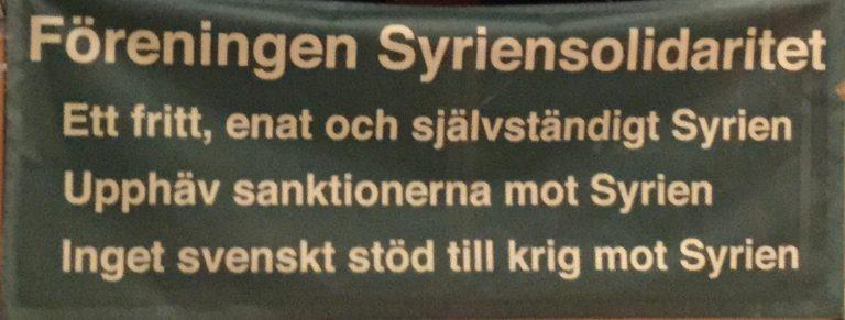 Stöd Syriens kamp mot terrorism och Sverigestödda dödliga sanktioner! Manifestation på Soltorget i Stockholm kl 12. idag.