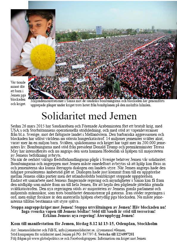 """Solidaritet med Jemen! Nej till """"Fake""""-rapporter i etablerade media!"""