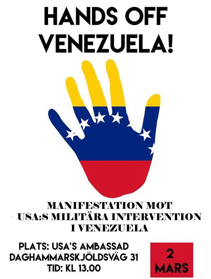Venezuela – Manifestation för fred och mot USA:s försök till statskupp. Lördag kl 13