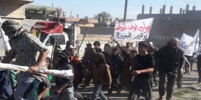 Folkliga protester mot kurdiska SDF i Syrien.