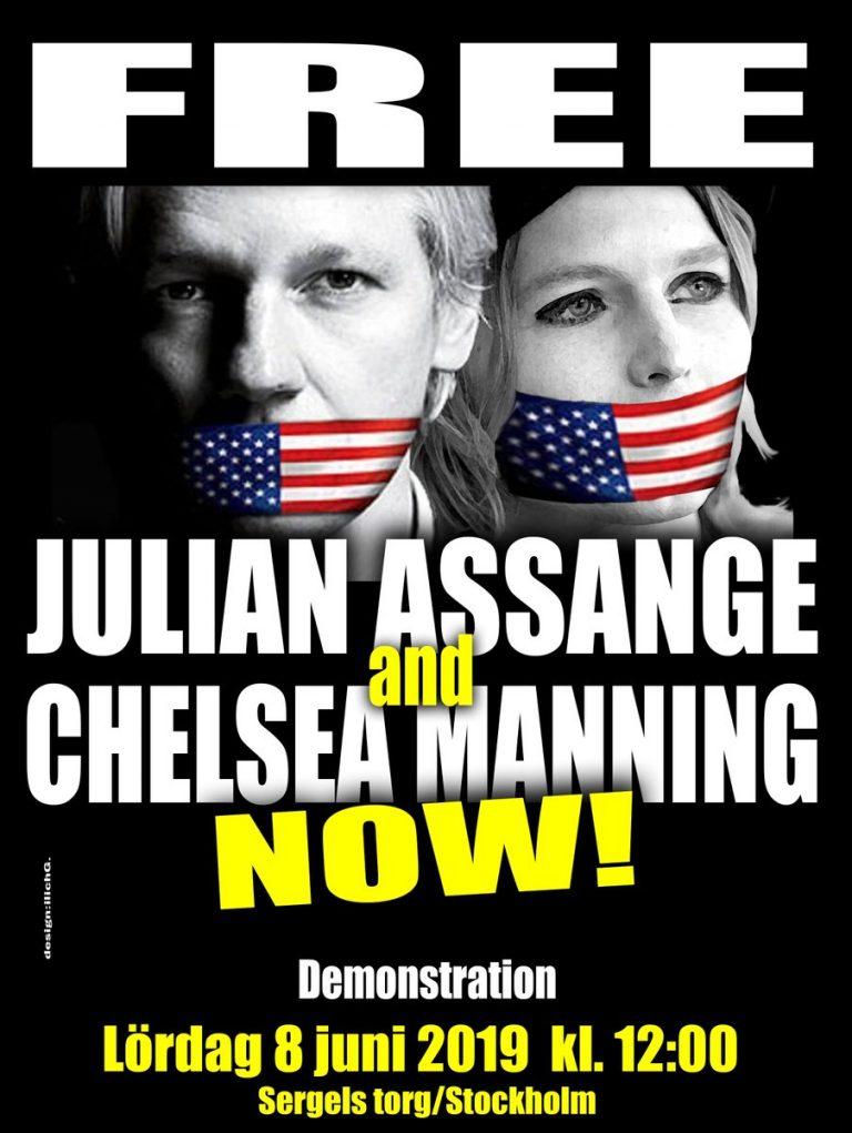 Färska solidaritetsmanifestationer för stöd till demokratiska visselblåsarna Julian Assange och Chelsea Manning!