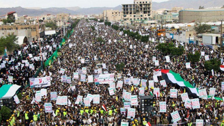 Väldiga protester i Jemen och arabvärlden mot USA-avtal om Israel-Palestina
