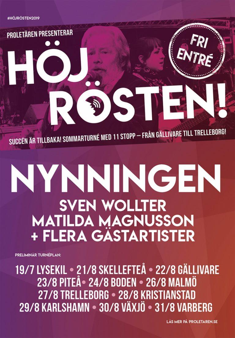 """Kommer """"Höj Rösten"""" -gratiskonserter- med Nynningen och Sven Wollter till din hemort?"""