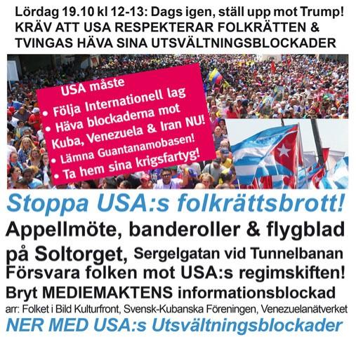 Protestera mot USA:s folkrättsbrott!