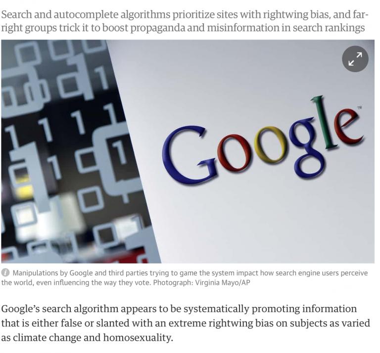 Googles politiska censur och styrning.