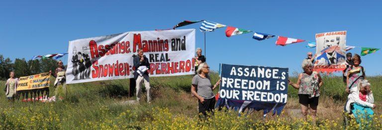 Julian Assanges mamma rapporterar från stödmanifestationen i Stockholm