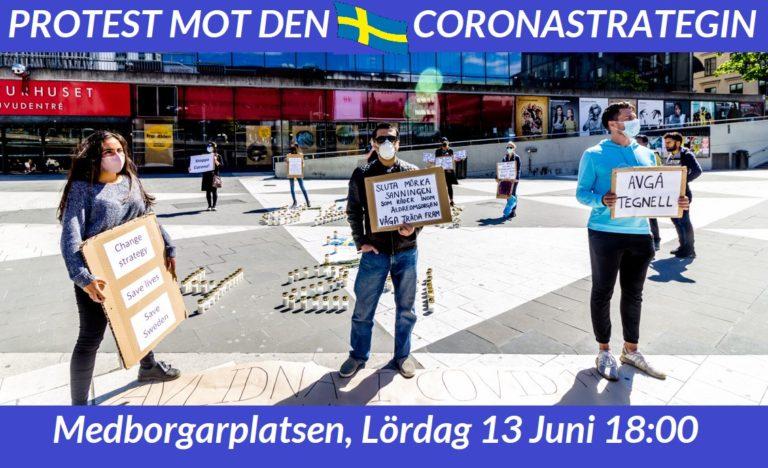 Protest mot den svenska Coronastrategin på Medborgarplatsen idag kl 18