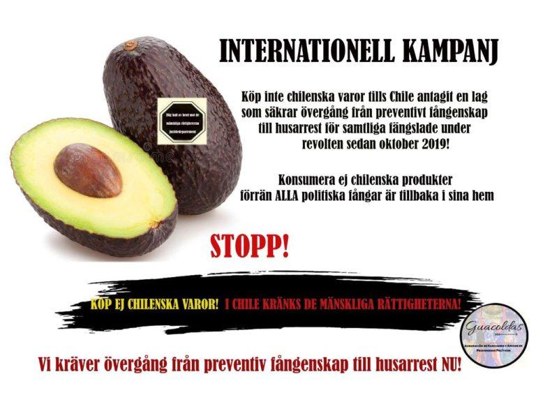 Bojkotta Chilenska varor så länge landets regering begår brott mot de mänskliga rättigheterna!