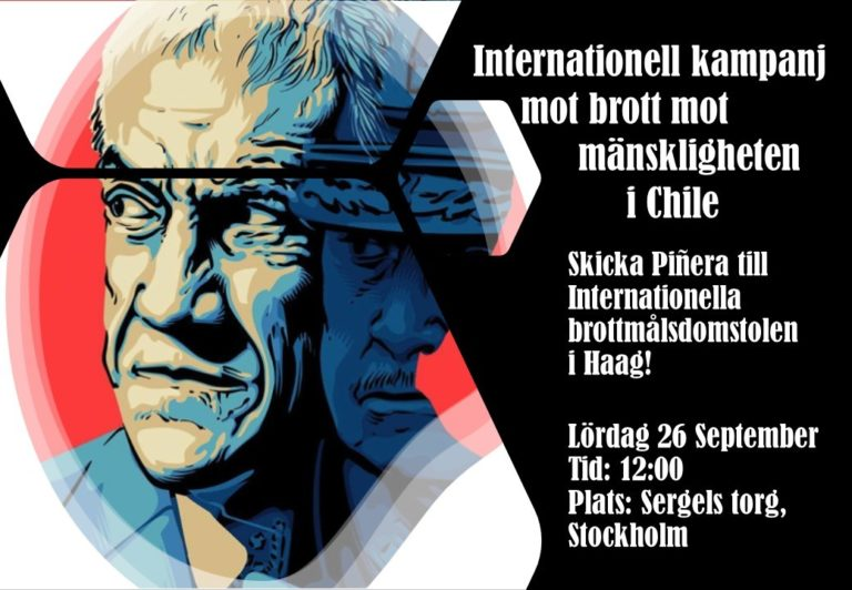 Internationell kampanj mot brott mot mänskligheten i Chile . Möte idag! Kom till Segels torg!