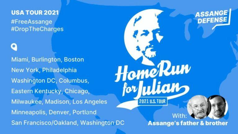 Julian Assanges far och bror är på turné i USA och uppmanar regeringen att upphäva sitt åtal